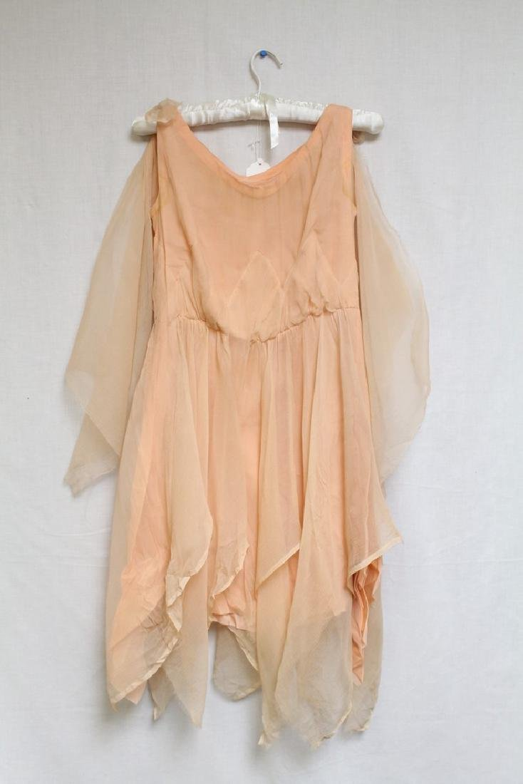 Vintage 1920s Peach Chiffon Dress