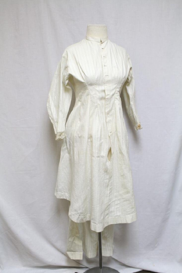 Vintage 1800s Womens White Bustle Dress