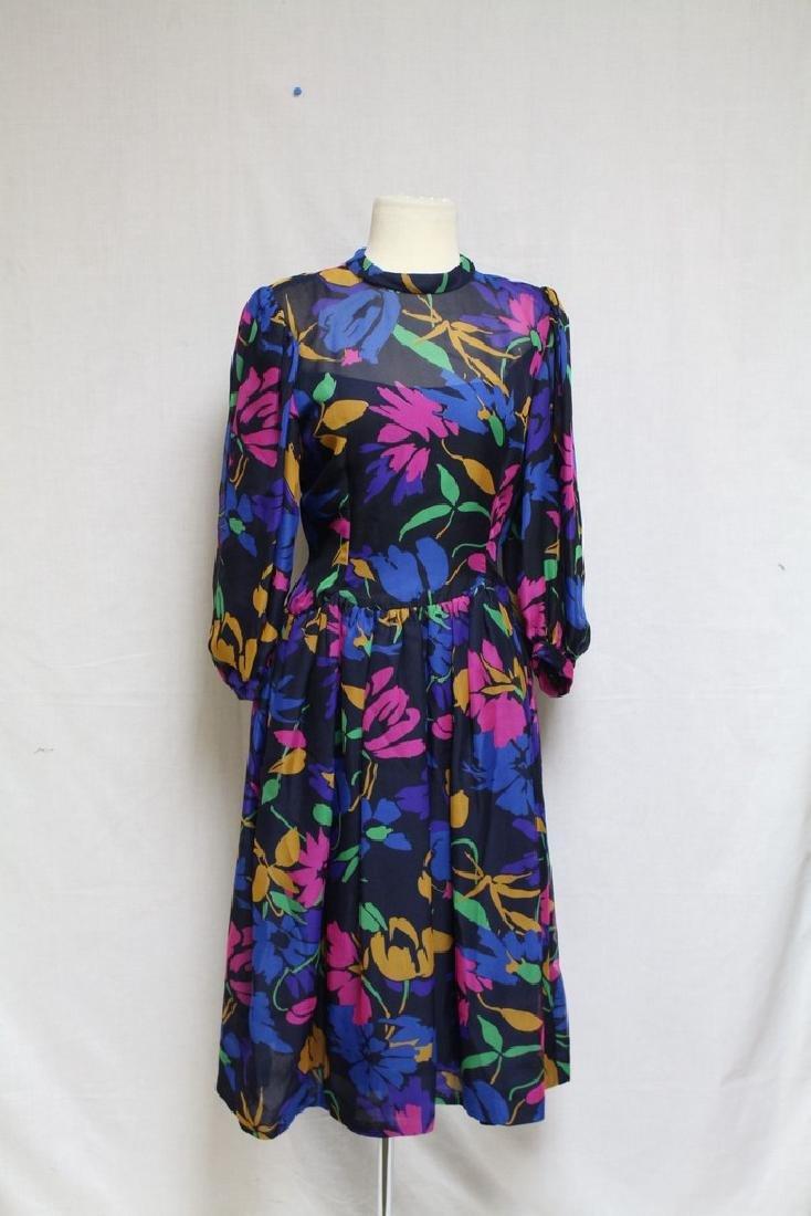 Vintage 1980s Pauline Trigere Floral Dress