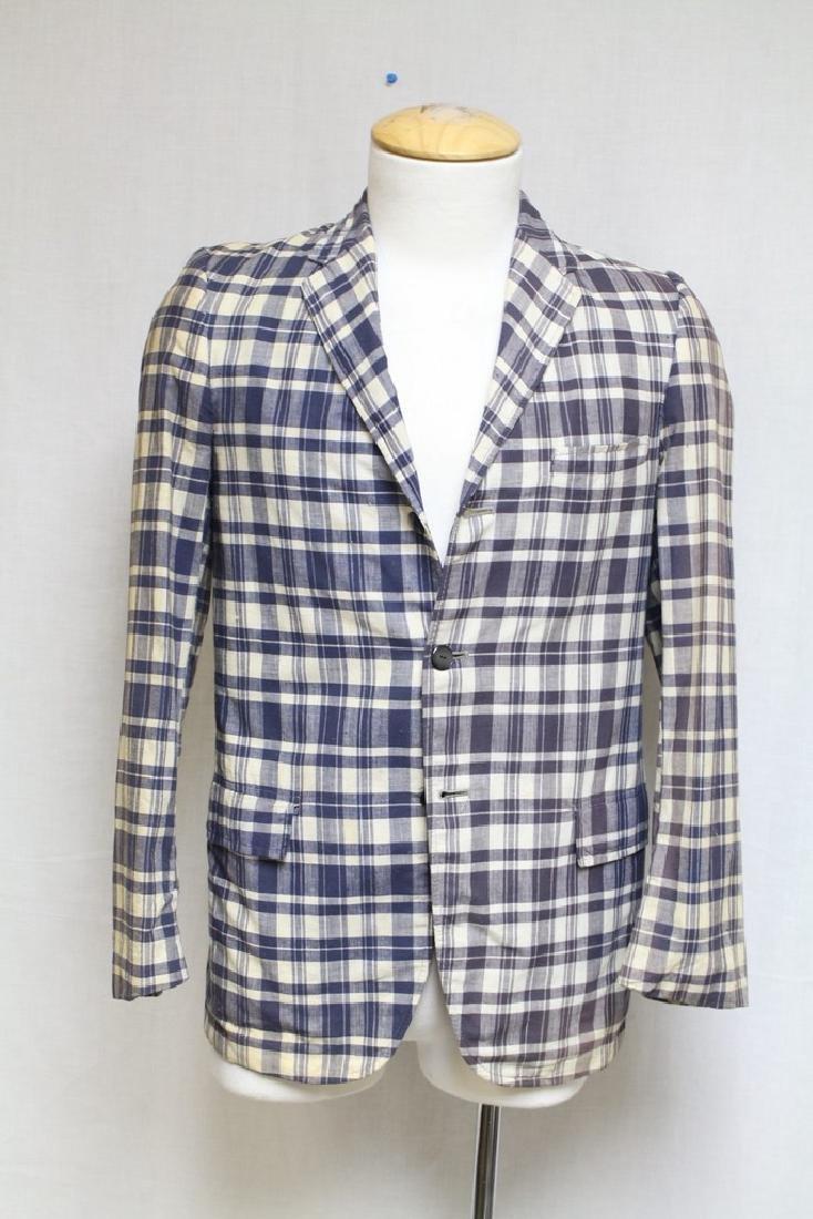 Vintage 1960s Boys Blue Plaid Blazer