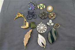 Lot of Vintage Brooches, Pendants, & Peacock Ring
