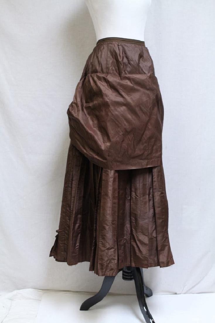 Vintage 1800s Brown Silk Bustle Skirt