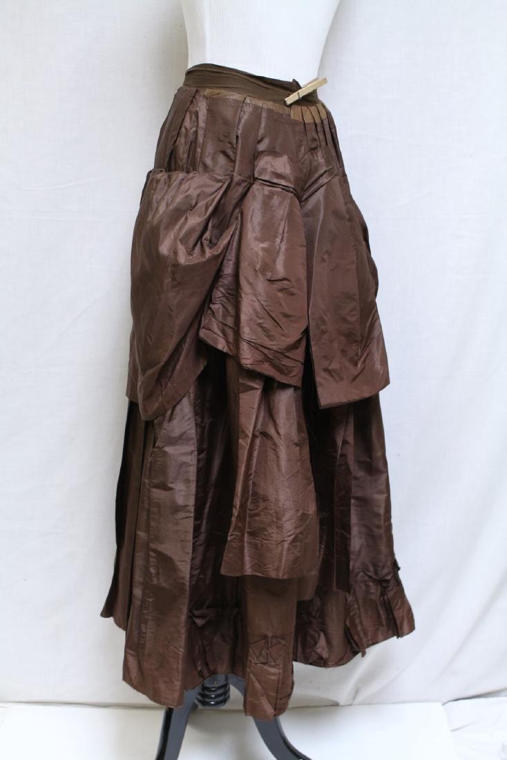 Vintage 1800s Brown Silk Bustle Skirt - 3