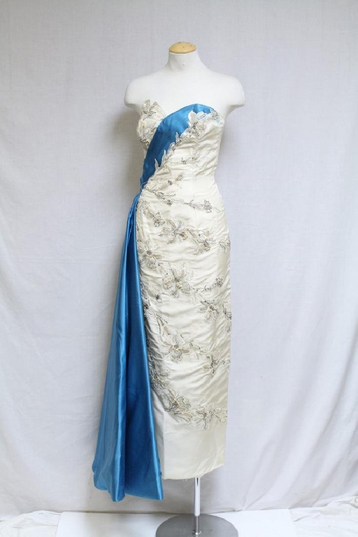 Vintage 1960's Silk & Lace Evening Gown