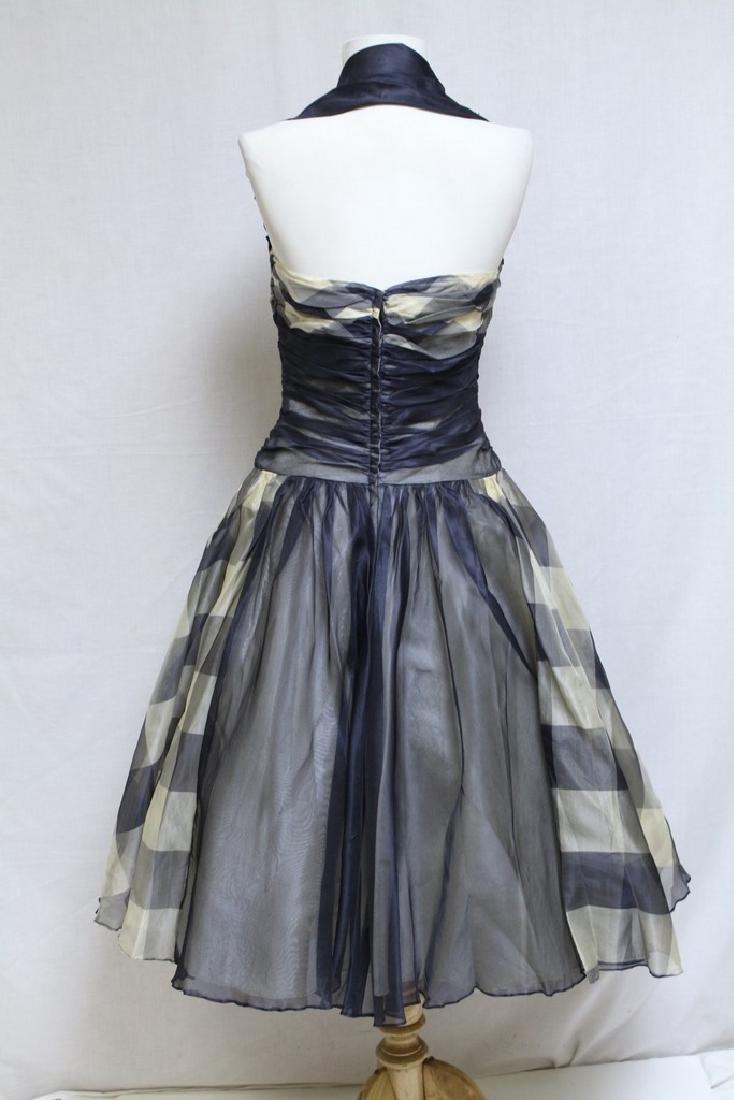 Vintage 1950s Gingham Halter Dress - 3