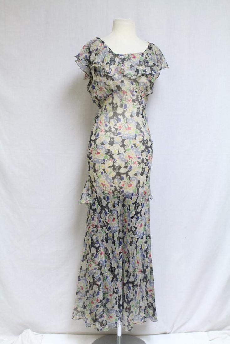 Vintage 1930s Floral Chiffon Dress
