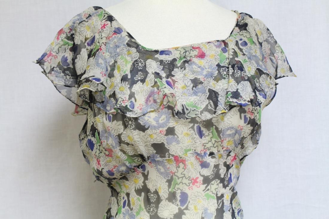 Vintage 1930s Floral Chiffon Dress - 2
