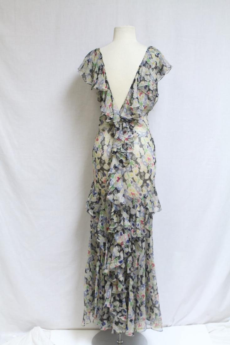 Vintage 1930s Floral Chiffon Dress - 3