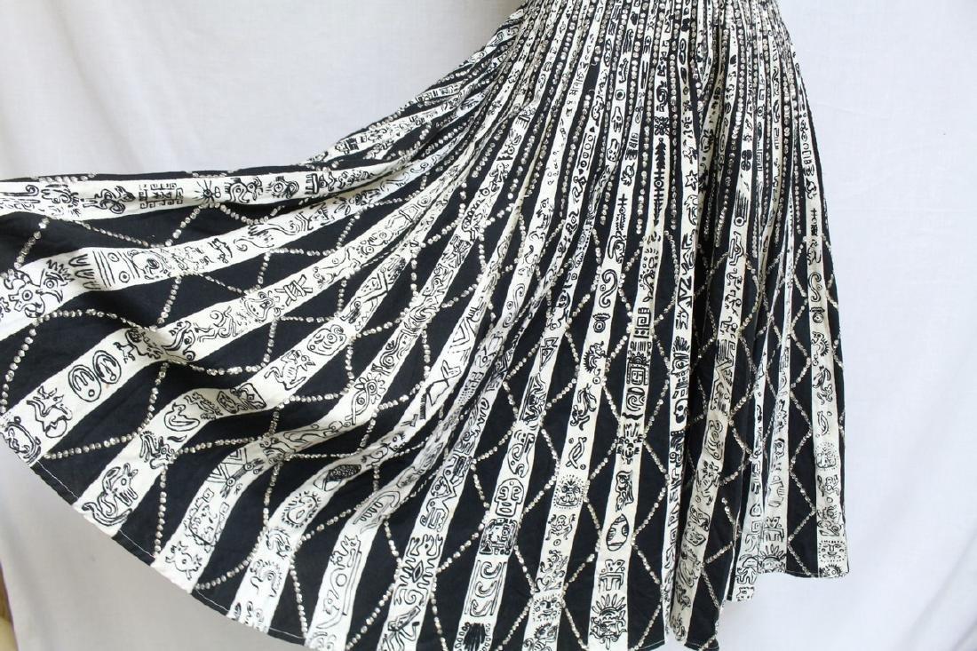 Vintage 1950s Black & White Mexican Halter Dress - 3