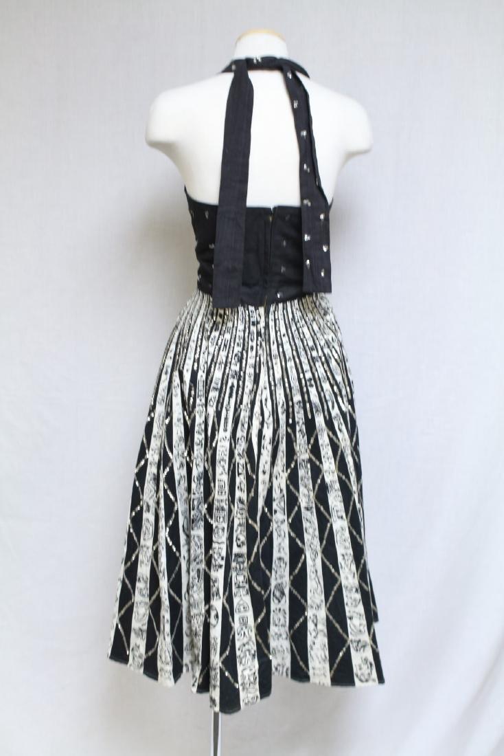 Vintage 1950s Black & White Mexican Halter Dress - 5