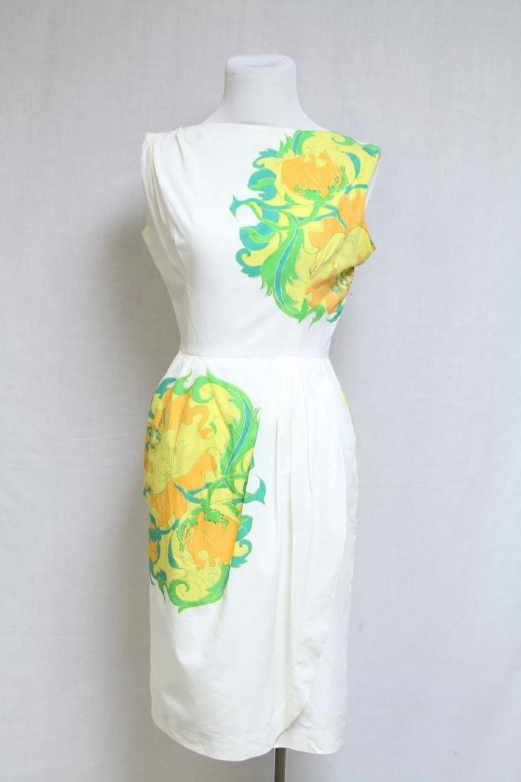 Vintage 1960s White & Orange Floral Dress