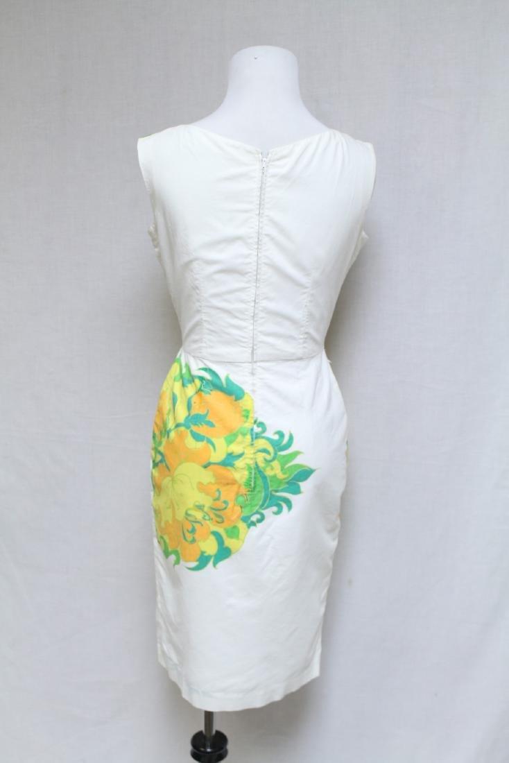 Vintage 1960s White & Orange Floral Dress - 3