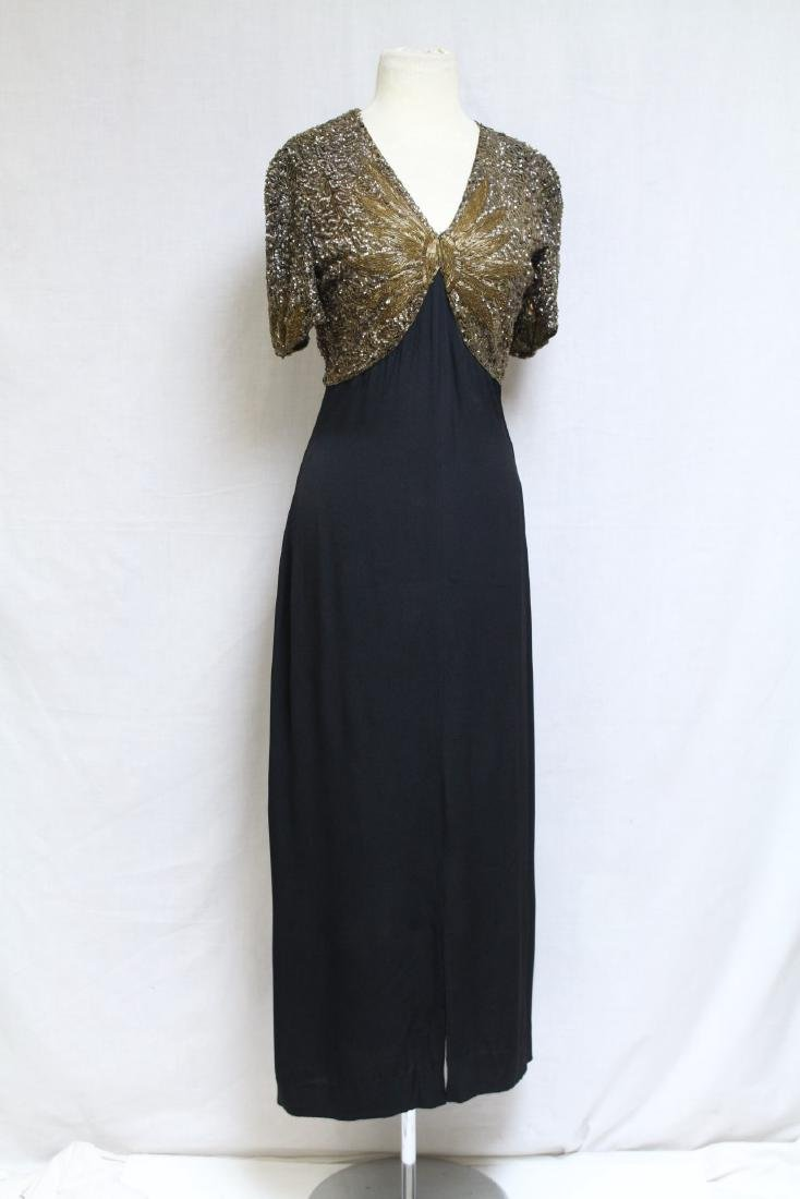 Vintage 1930s Gold Sequined Evening Gown