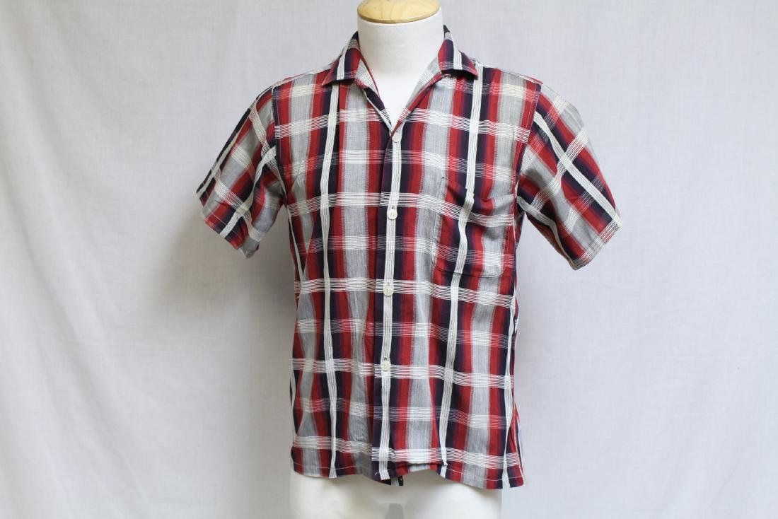 Vintage 1960s Men's Shadow Plaid Shirt