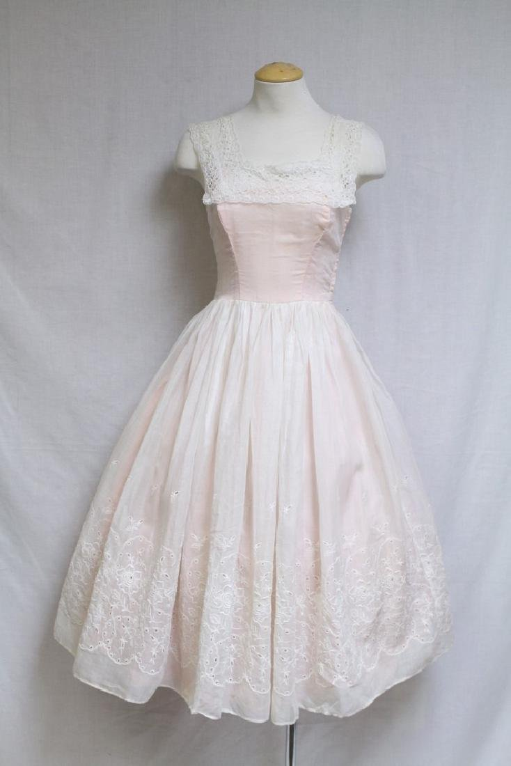 Vintage 1950s Pink & White Eyelet Party Dress