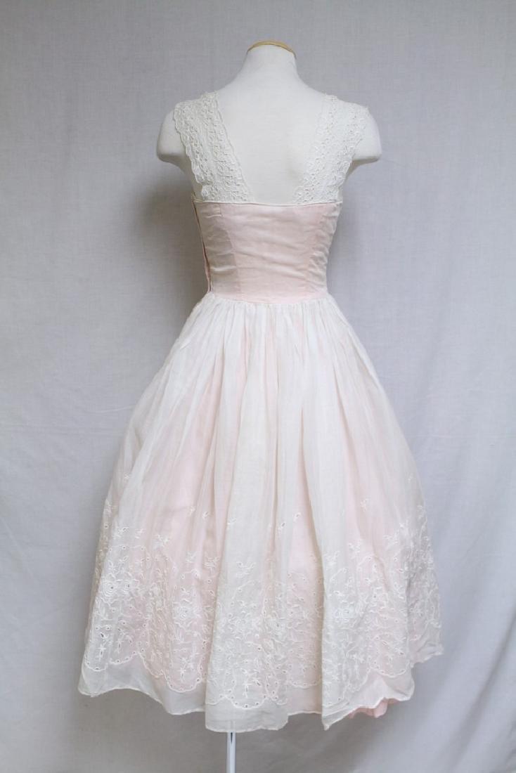 Vintage 1950s Pink & White Eyelet Party Dress - 3