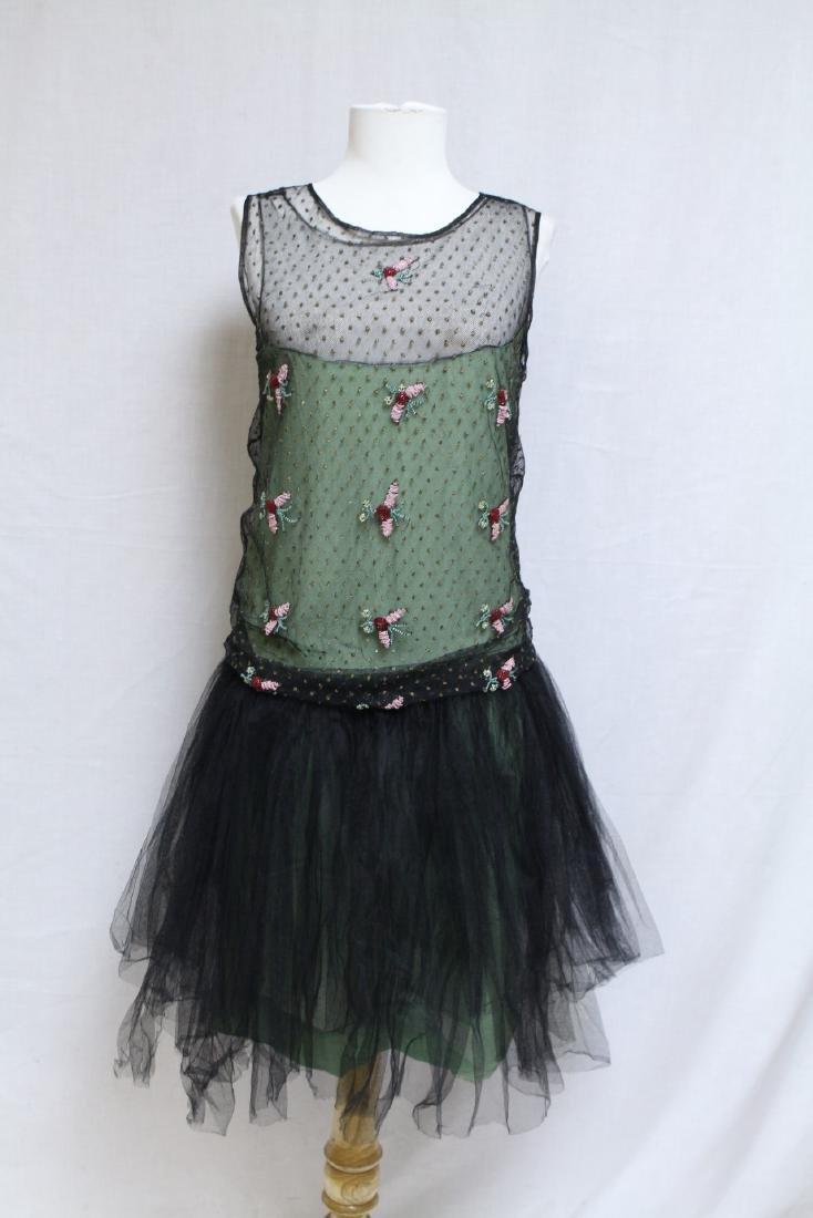 Vintage 1920s Green & Black Beaded Tulle Dress