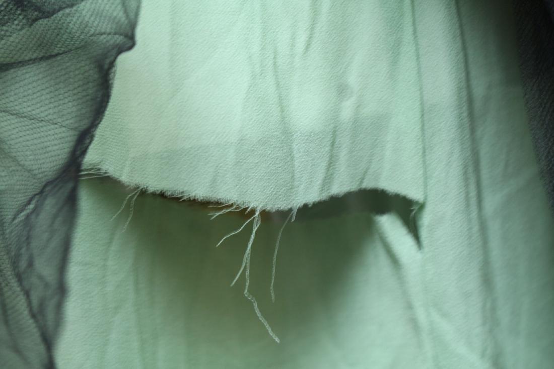 Vintage 1920s Green & Black Beaded Tulle Dress - 7