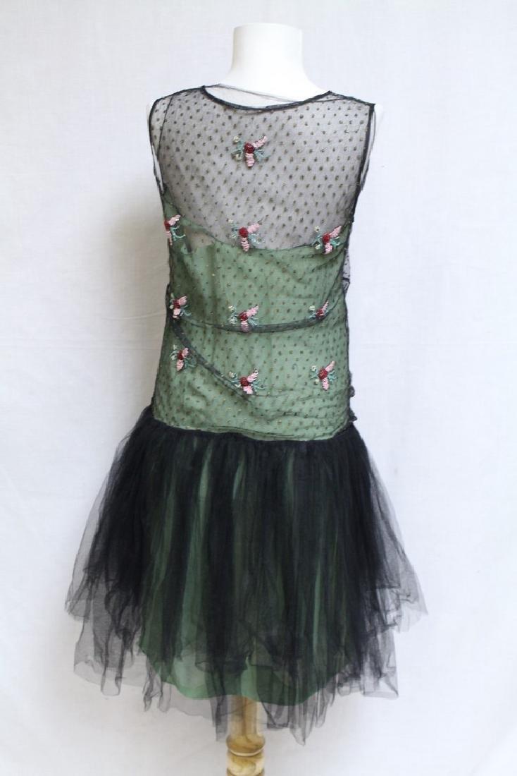 Vintage 1920s Green & Black Beaded Tulle Dress - 8
