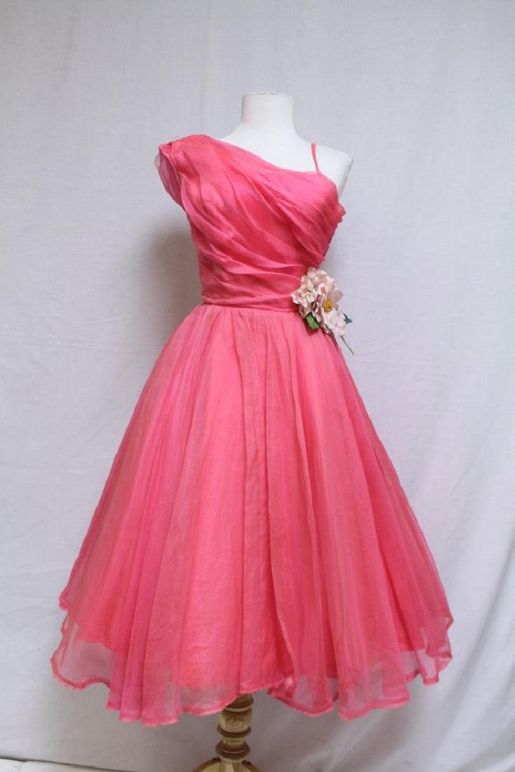 Vintage 1960s Hot Pink Party Dress