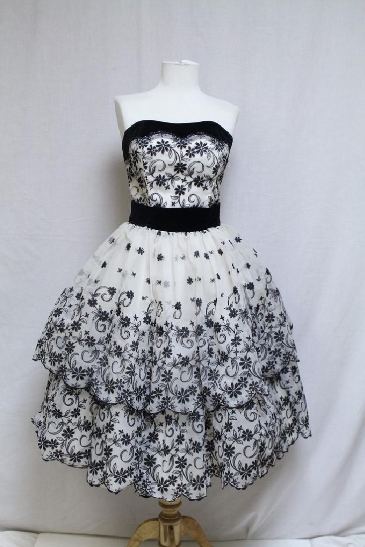 Vintage 1950s Black & White Party Dress