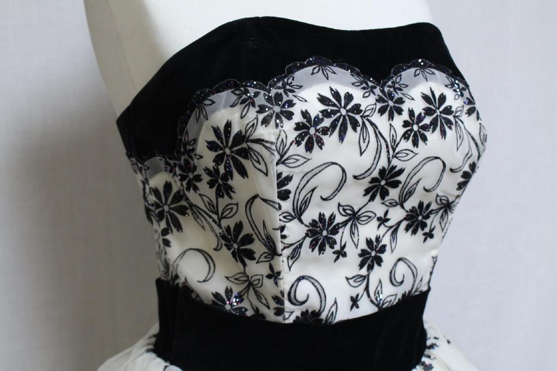 Vintage 1950s Black & White Party Dress - 2