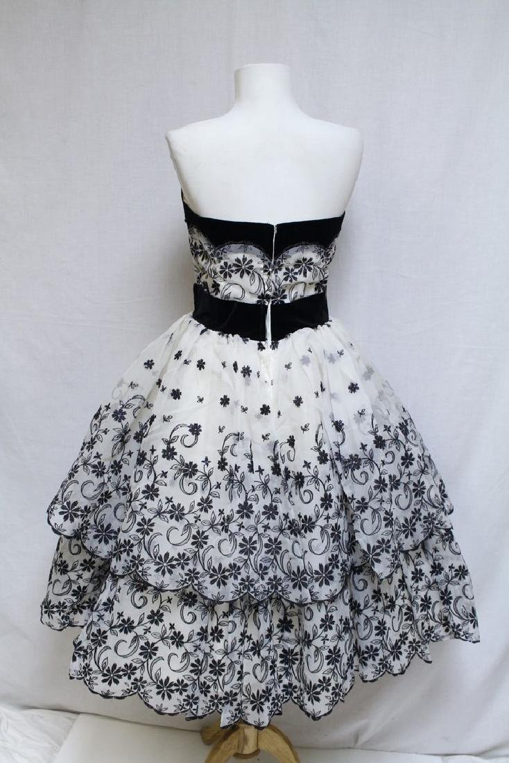 Vintage 1950s Black & White Party Dress - 3