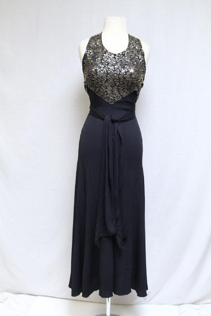 Vintage 1930s Black and Gold Sequin Gown