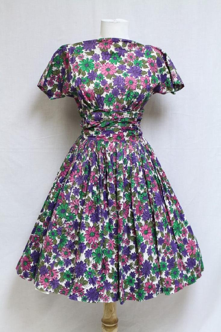 Vintage 1960s Daisy Print Fit & Flare Dress