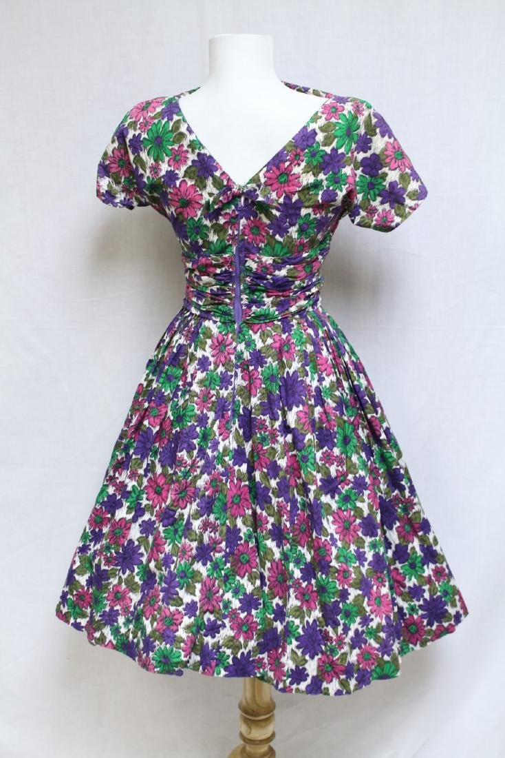 Vintage 1960s Daisy Print Fit & Flare Dress - 3