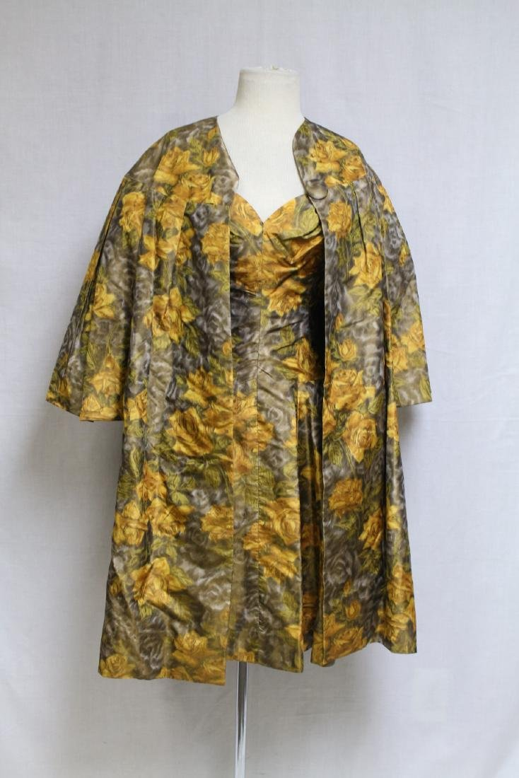 Vintage 1950s Yellow Rose Dress & Swing Coat