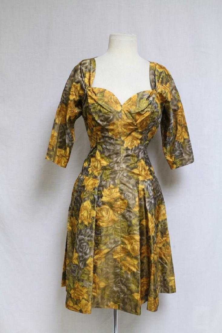 Vintage 1950s Yellow Rose Dress & Swing Coat - 2