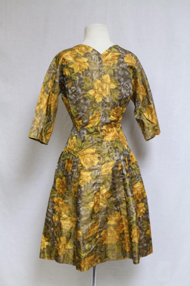 Vintage 1950s Yellow Rose Dress & Swing Coat - 3