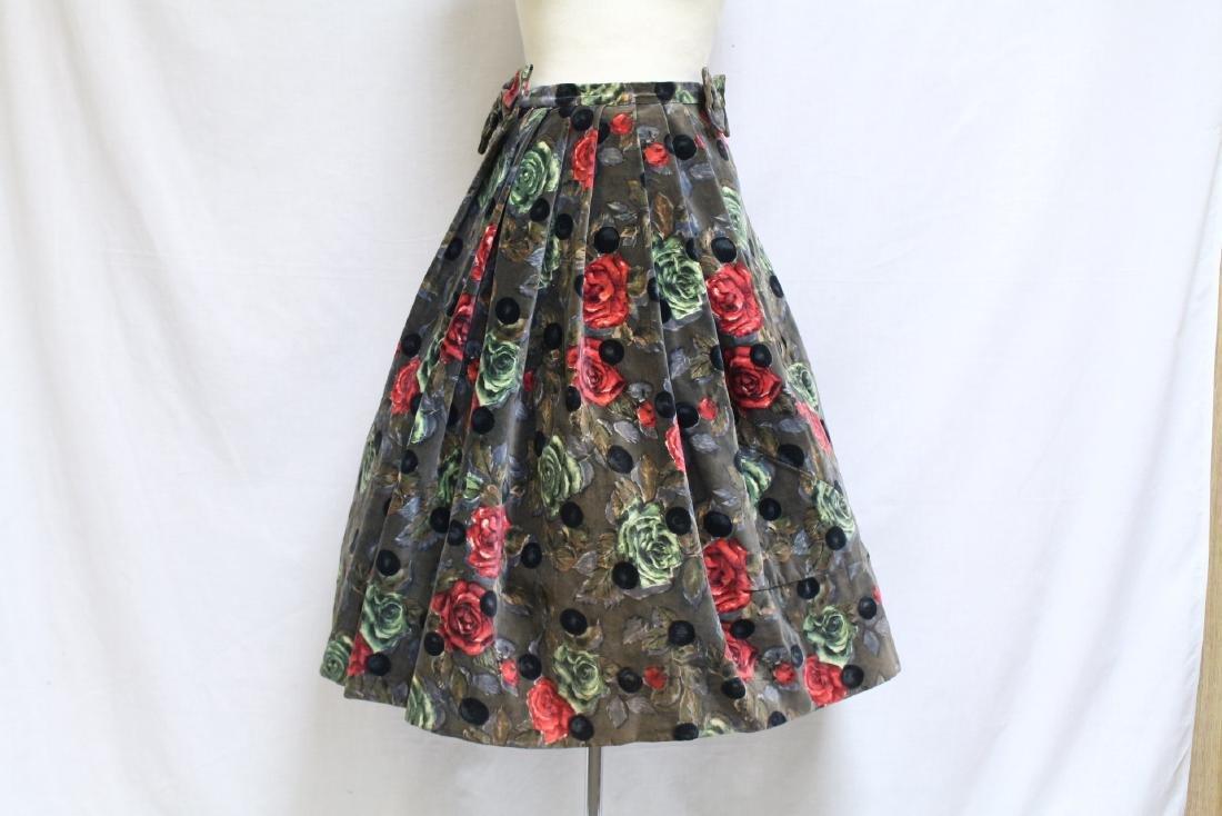 Vintage 1950s Eligau Velvet Rose Print Skirt
