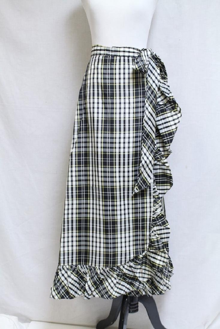 Vintage 1960s Plaid Taffeta Maxi Wrap Skirt