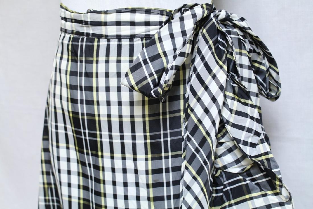 Vintage 1960s Plaid Taffeta Maxi Wrap Skirt - 2