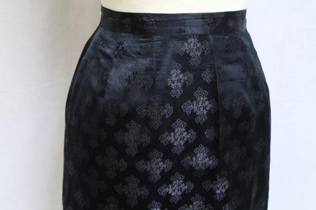 Vintage 1960s Silk Jacquard Pencil Skirt - 2