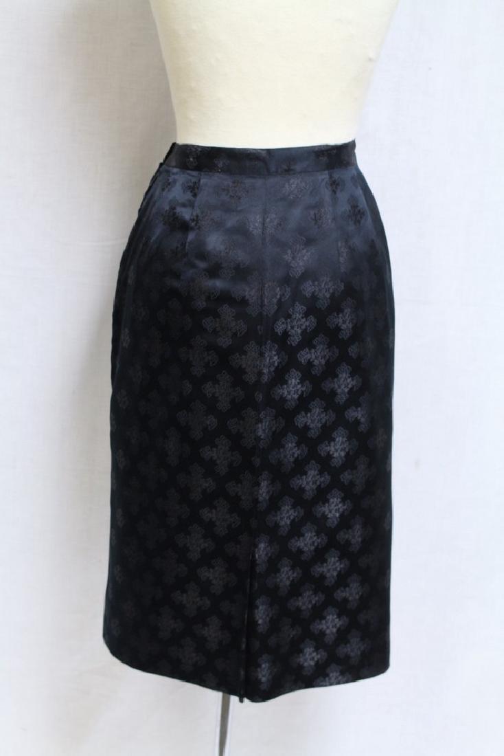 Vintage 1960s Silk Jacquard Pencil Skirt - 3