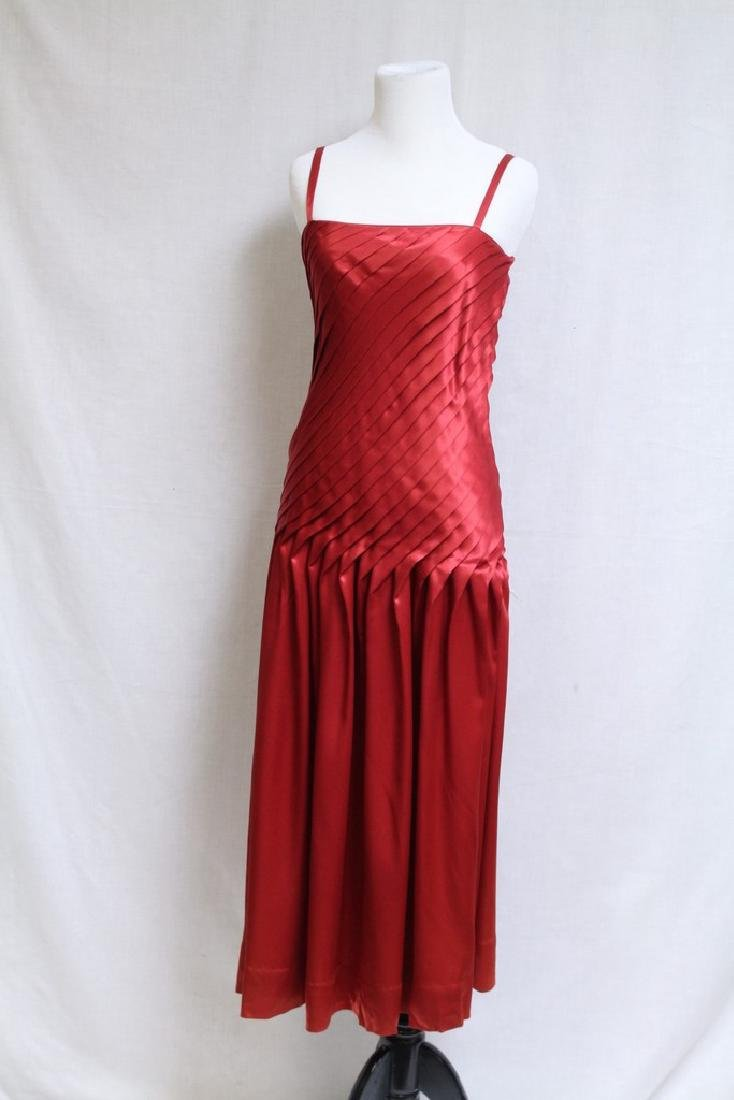 Vintage 1980s Red Pleated Satin Cocktail Dress