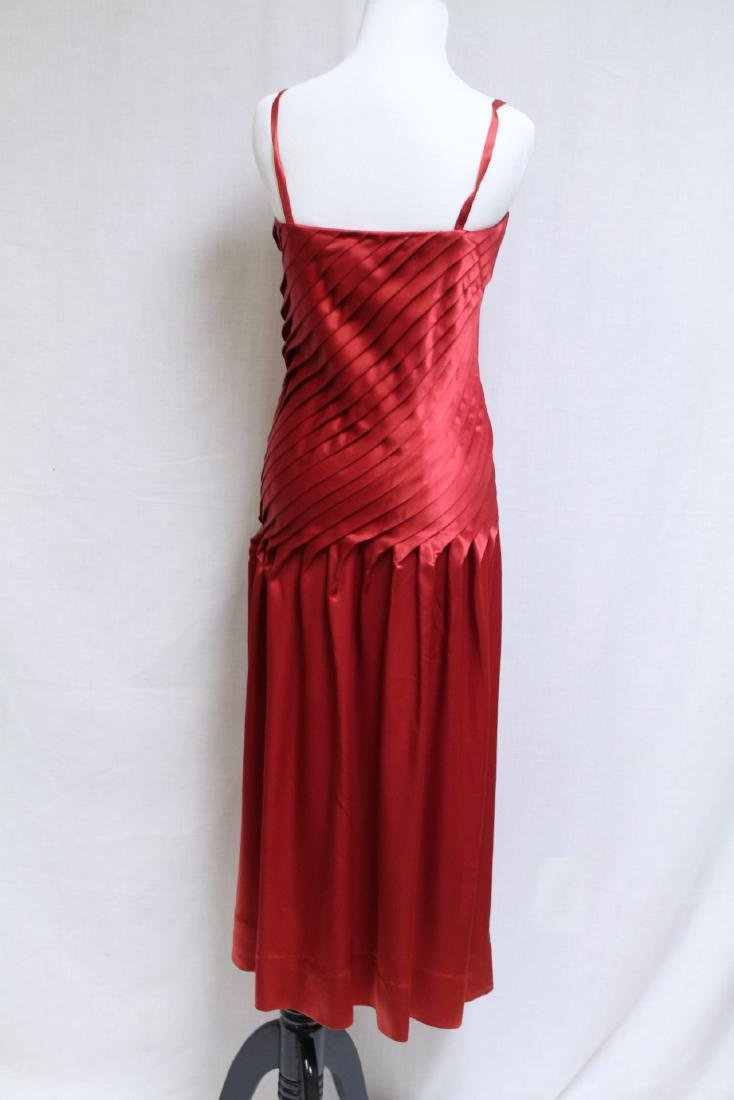 Vintage 1980s Red Pleated Satin Cocktail Dress - 2