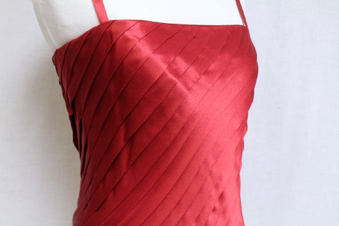Vintage 1980s Red Pleated Satin Cocktail Dress - 3