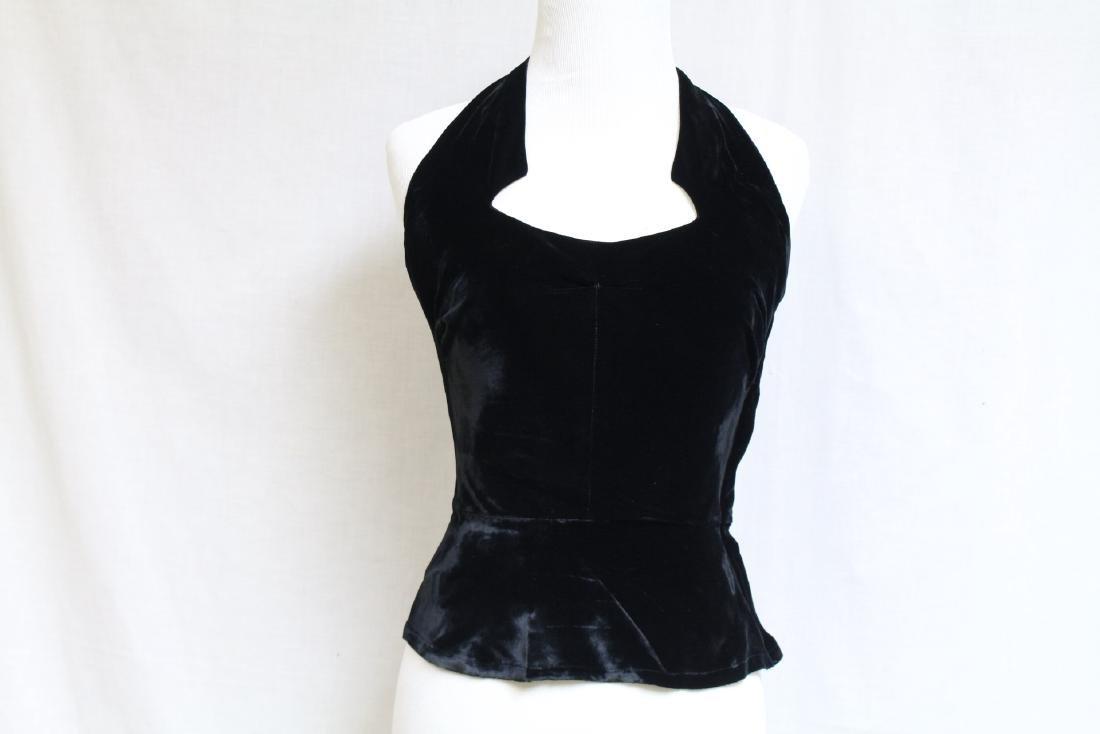 Vintage 1950s Black Velvet Halter Top