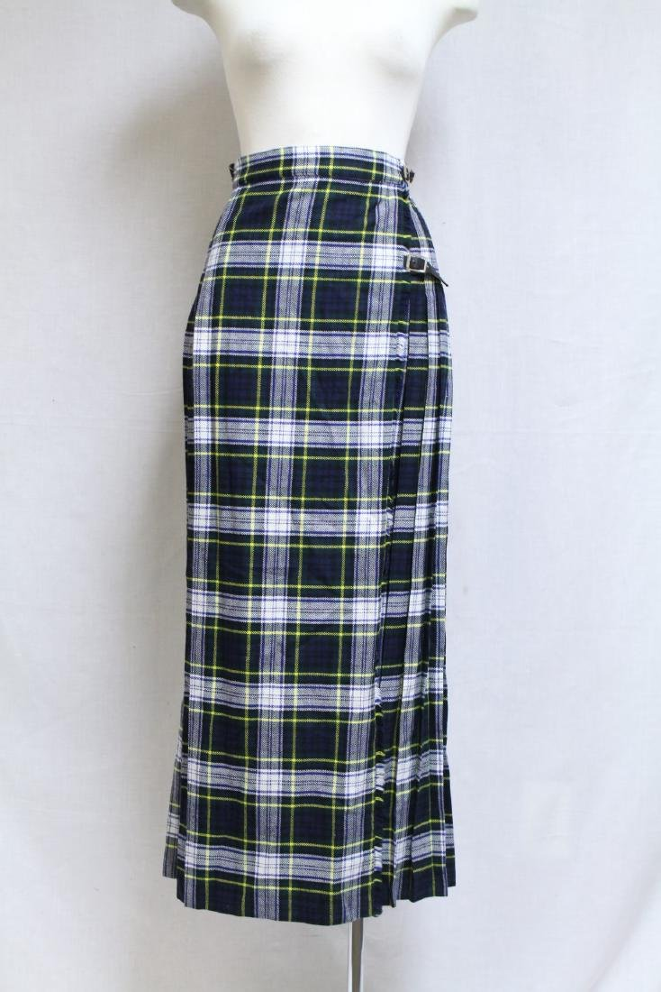 Vintage 1970s Wool Plaid Wrap Skirt