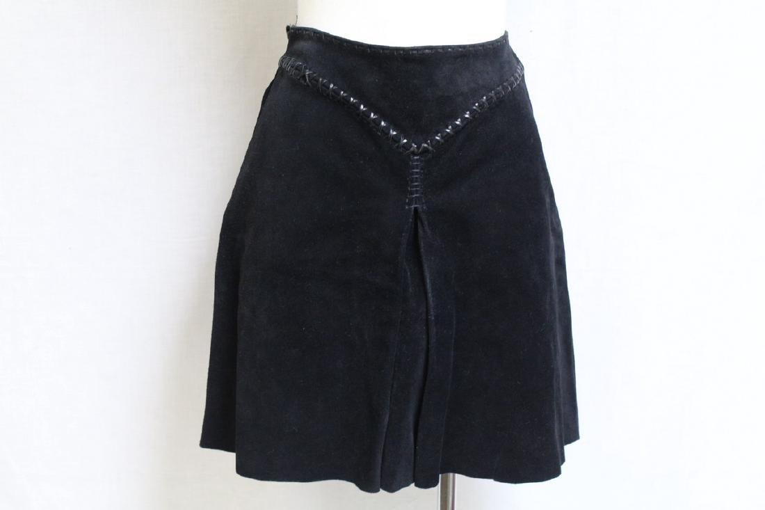 Vintage 1970's Black Suede Mini Skirt