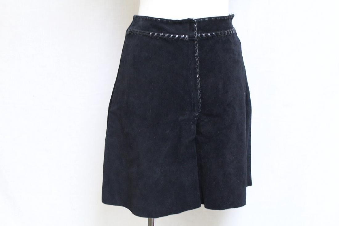 Vintage 1970's Black Suede Mini Skirt - 3