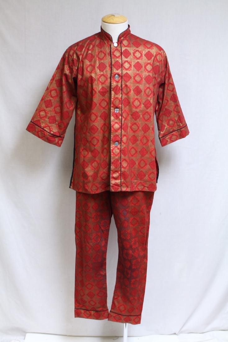 Vintage 1960s Men's Red & Gold Asian Pajamas