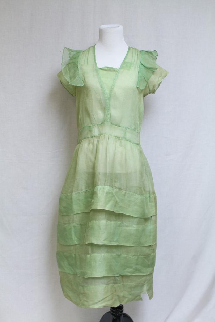 Vintage 1920s Green Organdy Dress