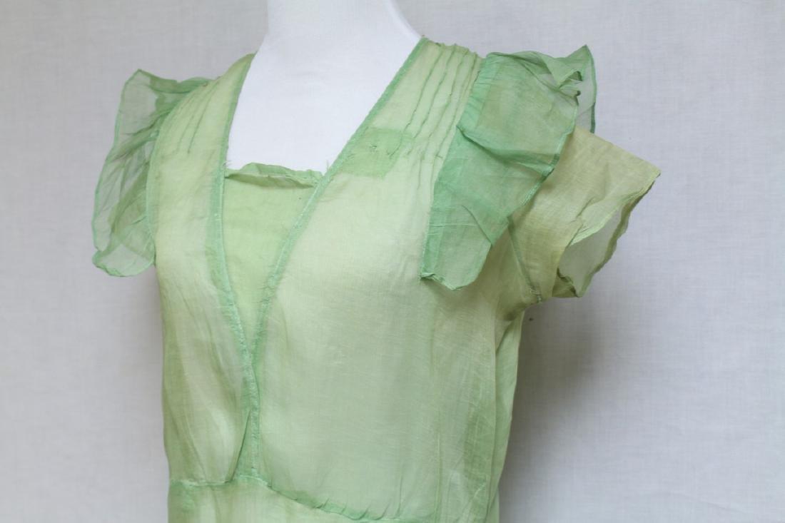 Vintage 1920s Green Organdy Dress - 2