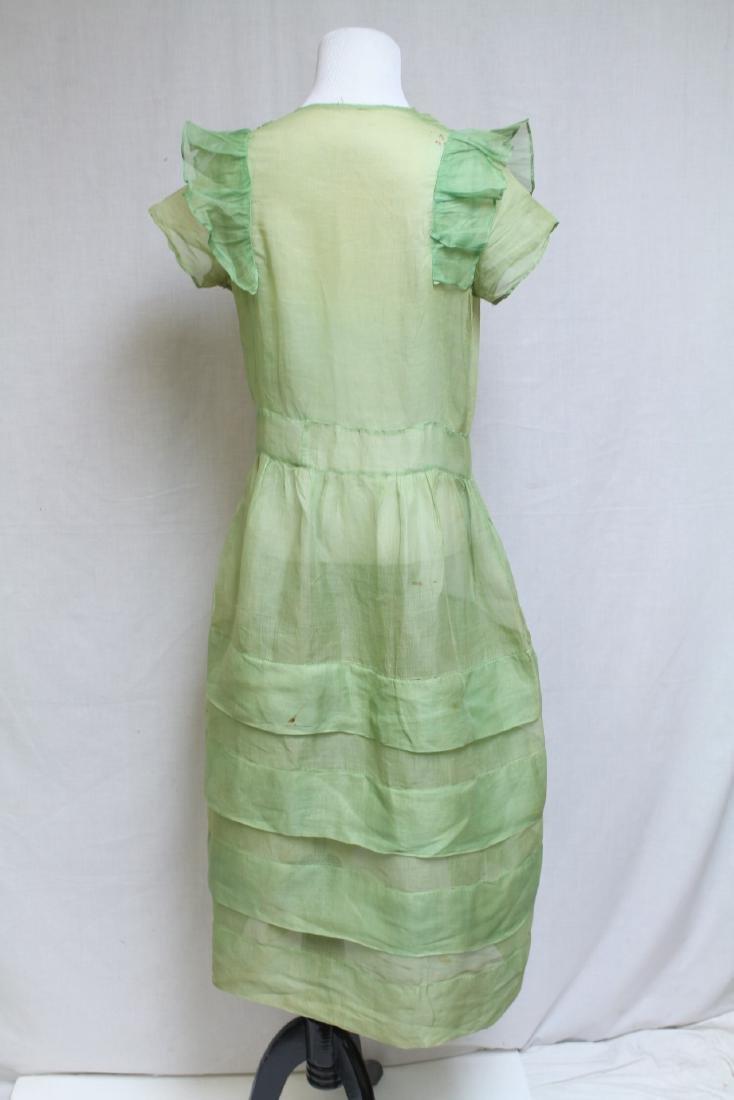 Vintage 1920s Green Organdy Dress - 6