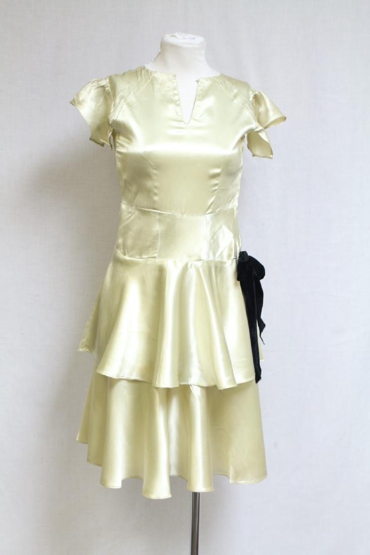 Vintage 1930s Lime Satin Dress